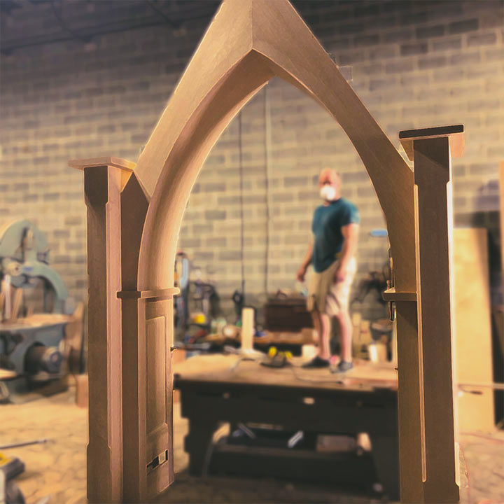 handcrafted church lectern, chairs, arch, and custom wood workin